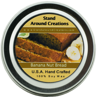 - BANANA NUT BREAD TIN 2-OZ. ALL NATURAL SOY CANDLE