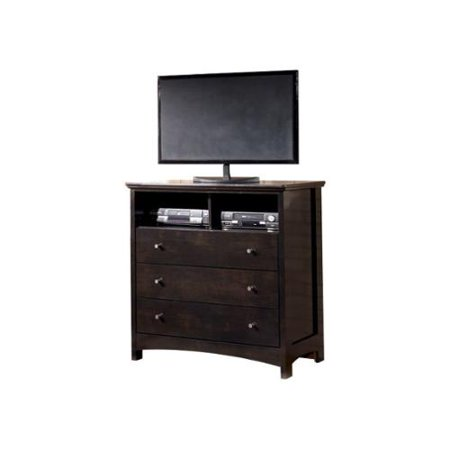 Ashley Harmony 3 Drawer Wood Media Chest In Dark Brown