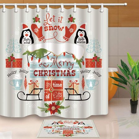 BPBOP New Year Penguin Gift Box Glove Merry Christmas Shower Curtain 66x72 inches with Floor Doormat Bath Rugs 15.7x23.6 inches - Glove Box Door