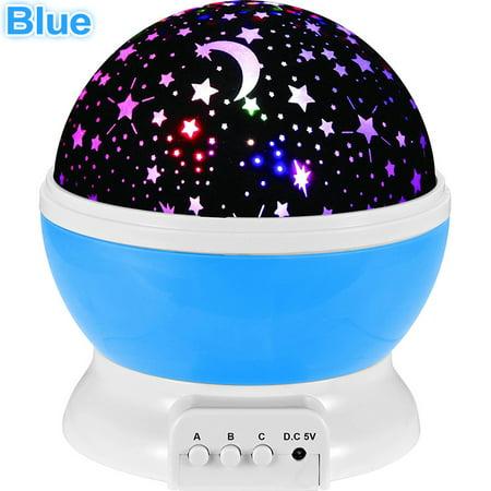 Blue Star Led Night Light Rotate Music Projection Lamp Romantic Baby Sleeping Light Christmas