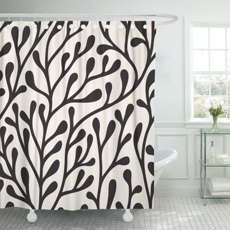 PKNMT Abstract Floral Stylish Bold Silhouette of Branches Black Branch Carpet Creative Waterproof Bathroom Shower Curtains Set 66x72 inch (Bold Branches)