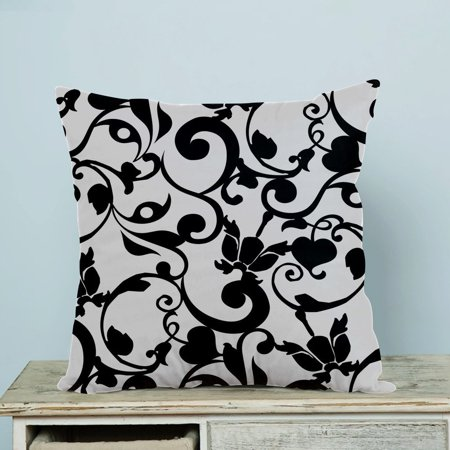 GCKG Black and White Damask Classic Vintage French Floral Swirls Pillow Case Pillow Cover Pillow Protector Two Sides 20 x 20 Inches