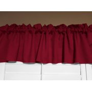 """Solid Poplin Window Valance 58"""" Wide Cranberry Red"""