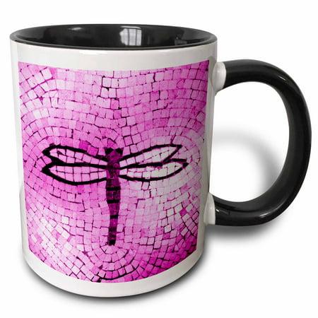 3dRose Hot Pink Mosaic Dragonfly - Two Tone Black Mug, 11-ounce