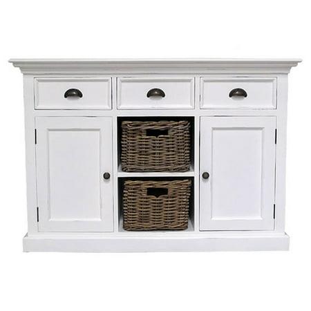 - Infinita Corporation Halifax 3 Drawer Buffet Dresser with 2 Rattan Baskets