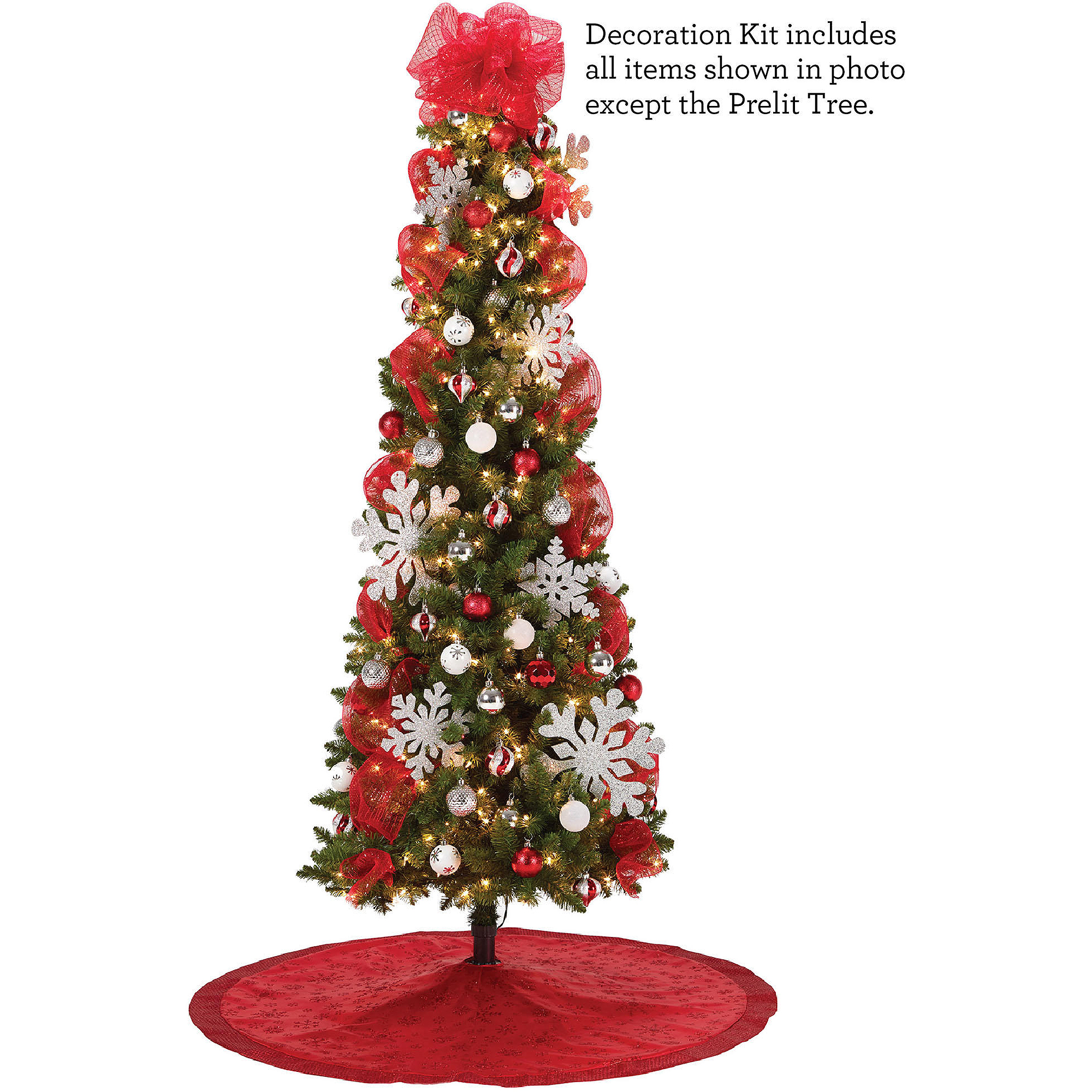 red and silver christmas tree decoration kit walmartcom
