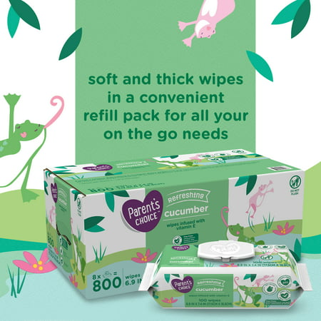 Parent's Choice Baby Wipes, Cucumber, 3 Flip-Top Packs (240 Total Wipes)
