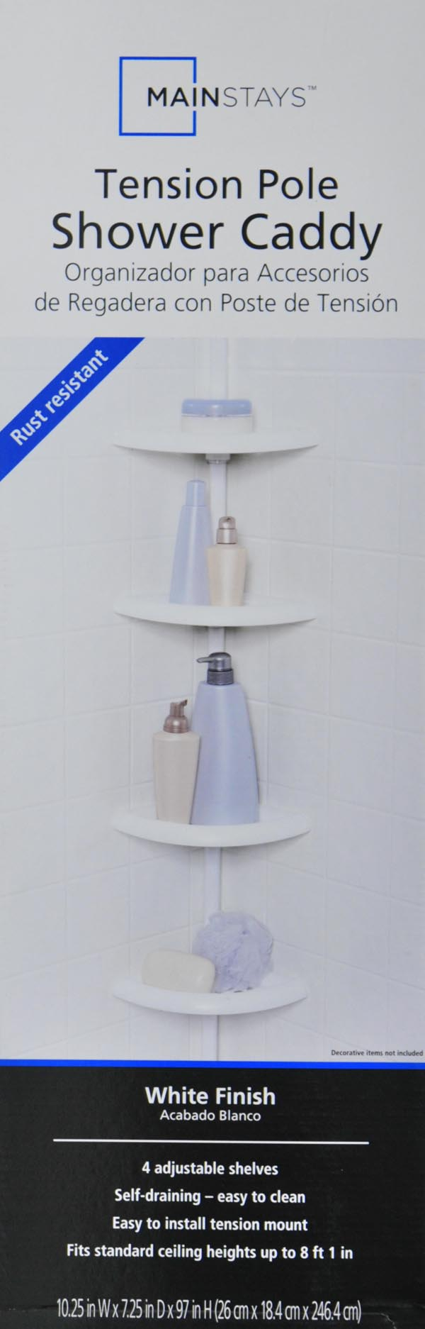 Mainstays 4Tier Tub and Shower Tension Pole Caddy White Walmartcom