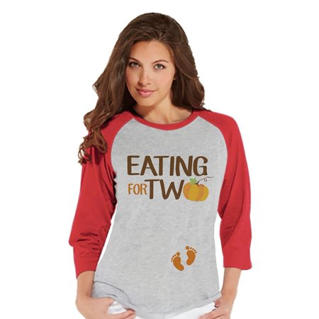 Custom Party Shop Womens Eating for Two Thanksgiving Pregnancy Announcement Raglan Tee - X-Large
