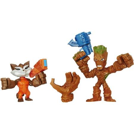 Marvel Super Hero Mashers Micro Groot and Rocket Raccoon 2 Pack - Superhero Trophy
