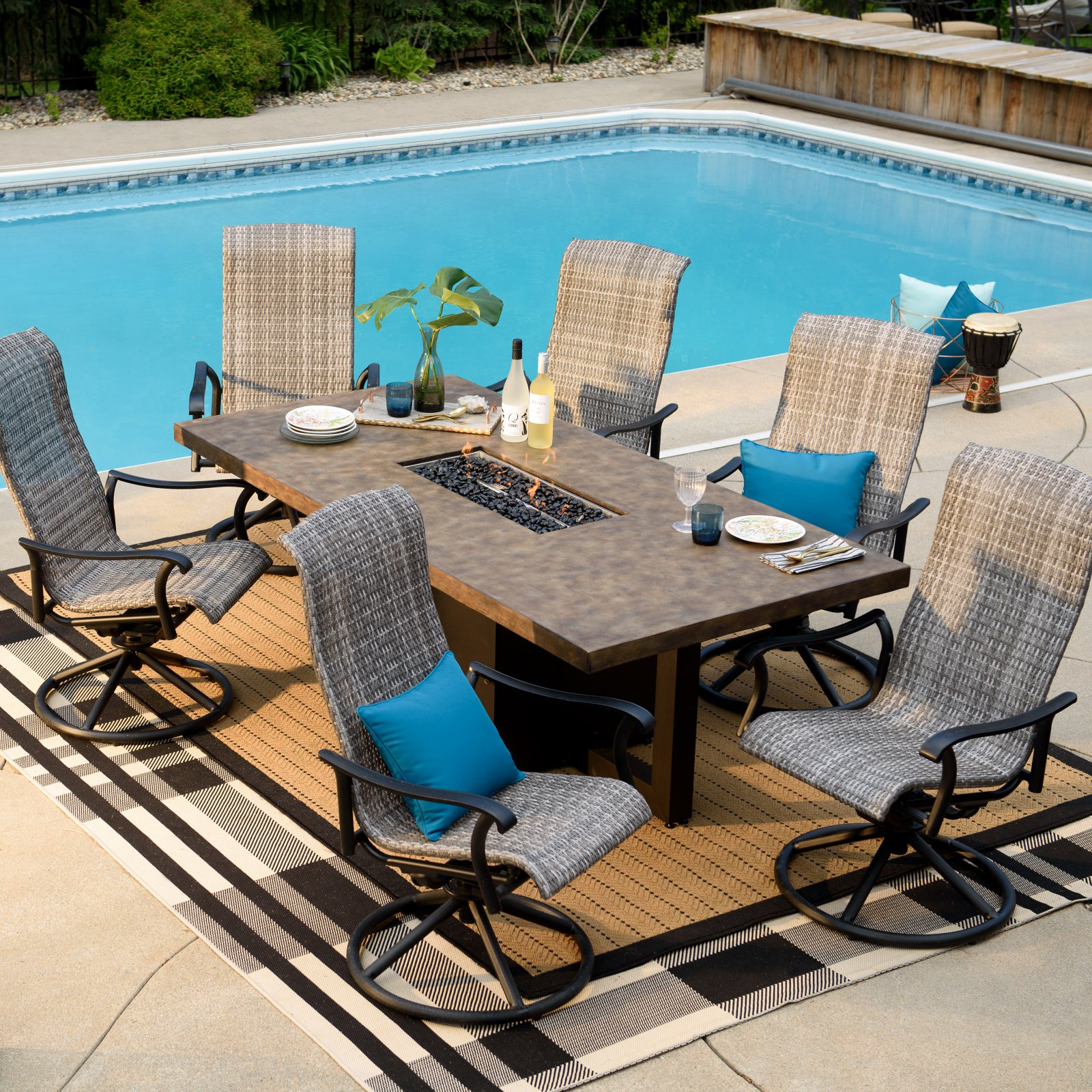 Belham Living Denton 7 Piece Fire Table Patio Dining Room Set by