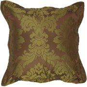 "18"" Royal Jewel Bronze and Olive Decorative Throw Pillow"