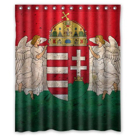 Hungarian Water - GreenDecor Flag Of Hungary Waterproof Shower Curtain Set with Hooks Bathroom Accessories Size 66x72 inches
