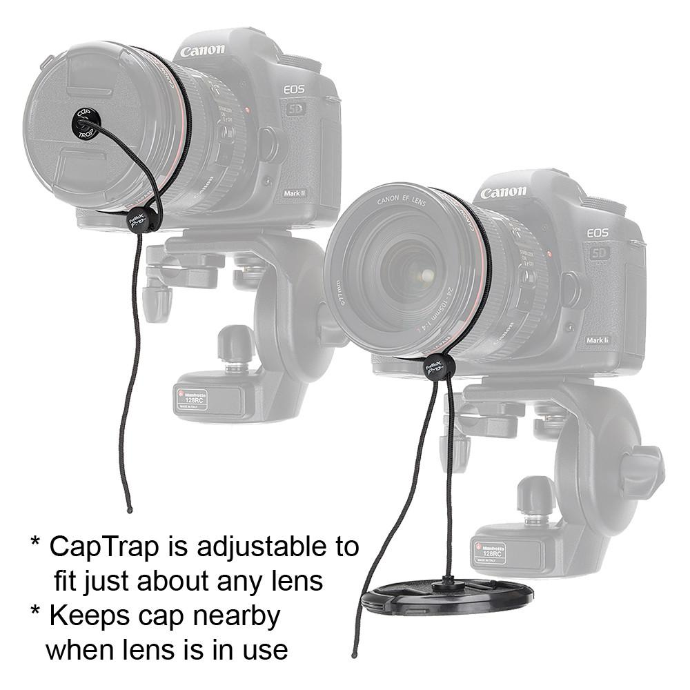 Fotodiox Pro CapTrap - Lens Cap Keeper, Leash/Safety Cord for Sony, Canon, Nikon, Olympus, Pentax, Samsung, Panasonic and Fujifilm Lens Caps