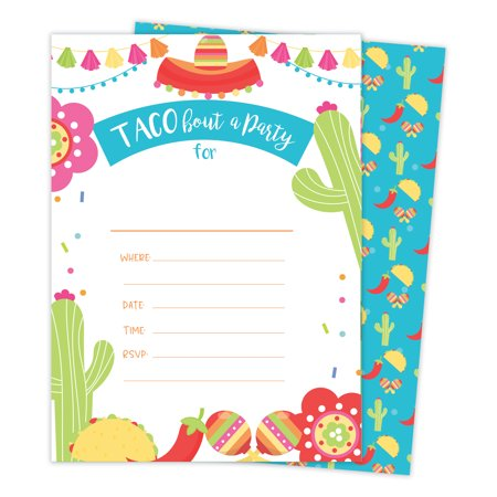 Fiesta 2 Happy Birthday Invitations Invite Cards 25 Count With Envelopes Seal Stickers Vinyl Girls Boys Kids Party