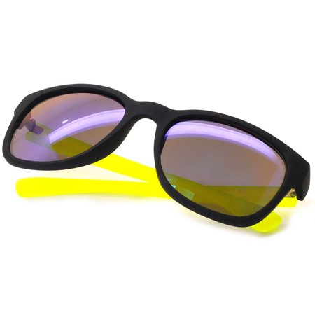 014 Retro Neon 80's Vintage Party Sunglasses Yellow Frame Blue Green Mirror Lens OWL