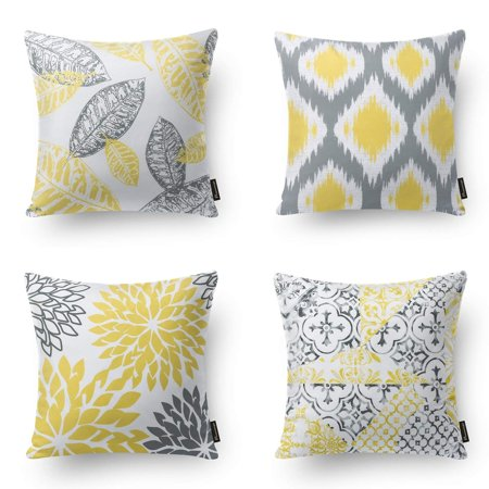 Tremendous Phantoscope New Living Series Decorative Throw Pillow Cover 18 X 18 Yellow Gray 4 Set Alphanode Cool Chair Designs And Ideas Alphanodeonline