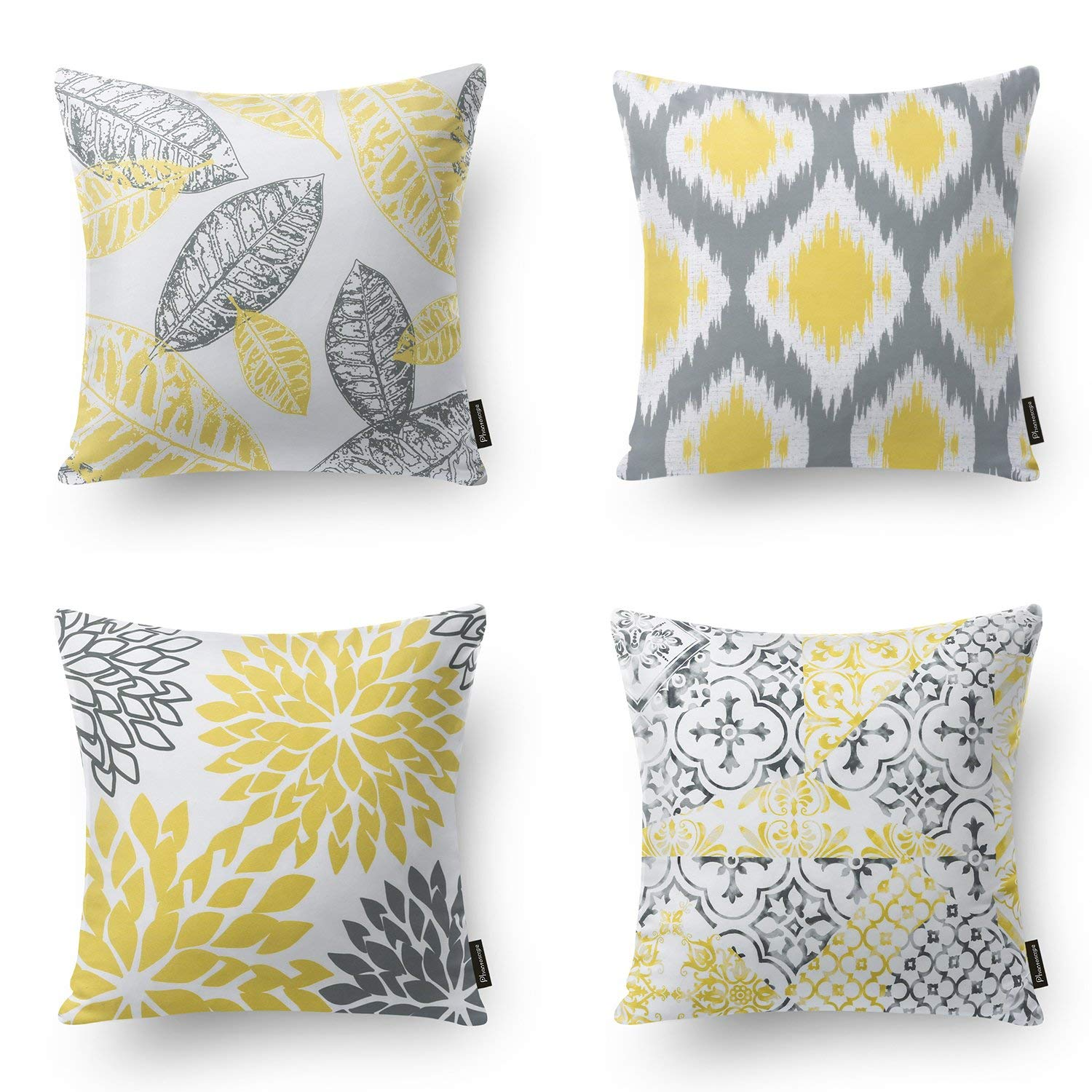 """Set of 4 PHANTOSCOPE New Living Series Yellow&Grey Decorative Throw Pillow Case Cushion Cover 18"""" x 18"""" 45cm x 45cm (Pillow Covers Only)"""