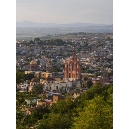 Evening City View from above City with Parroquia Archangel Church San Miguel De Allende Print Wall Art By Terry (Distance From Leon To San Miguel De Allende)