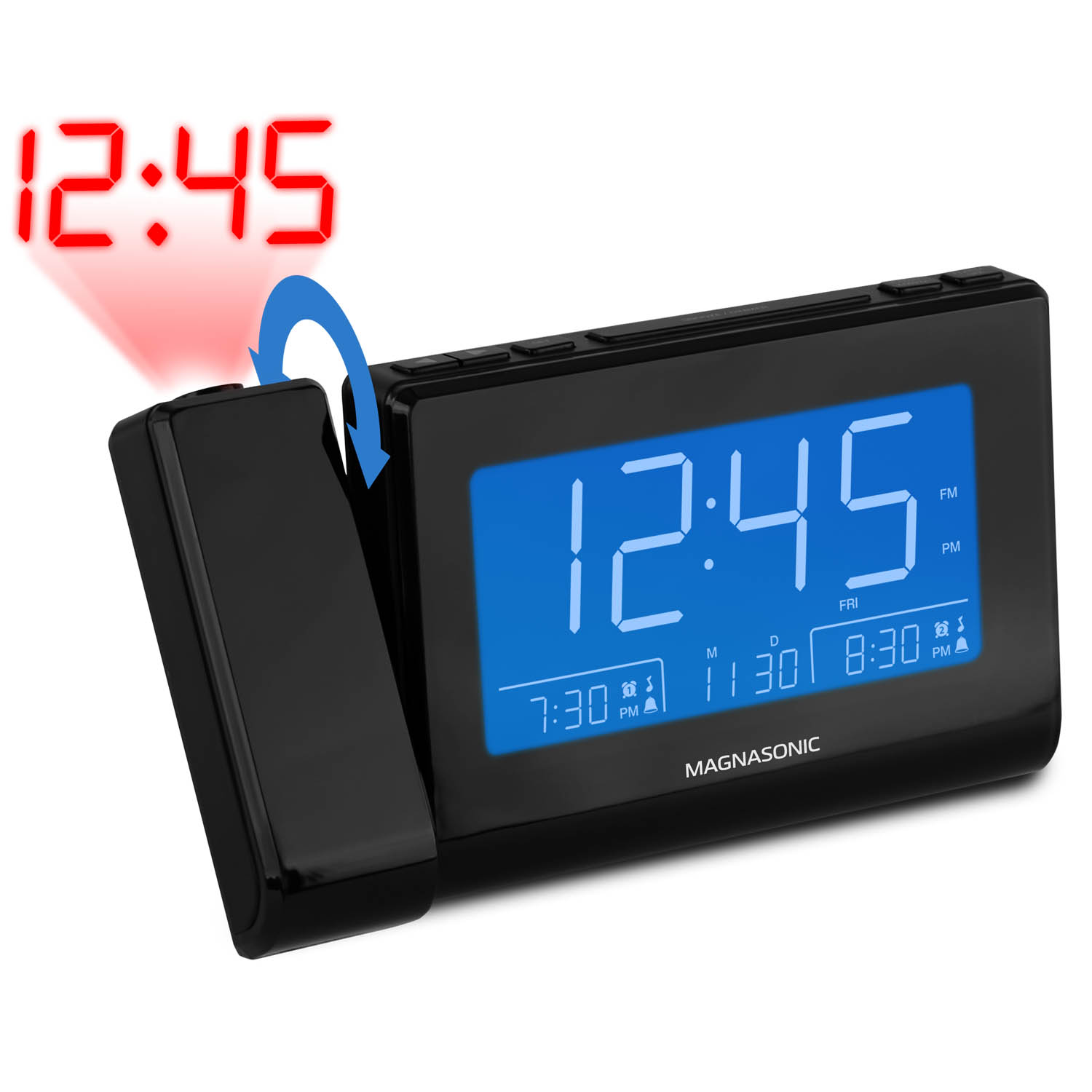 """Magnasonic Alarm Clock Radio with USB Charging for Smartphones & Tablets, Time Projection, Auto Dimming, Battery Backup, Auto Time Set, Large 4.8"""" LED Display, AM/FM (CR64) - 1 Year Extended Warranty - image 4 de 8"""