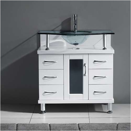 Virtu USA Vincente Series 32'' Single Bathroom Vanity Set with Tempered Glass Top