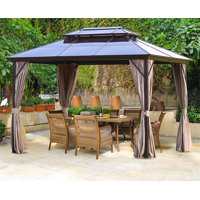 Outdoor Hardtop Gazebo Canopy Curtains Aluminum Furniture with Netting for Garden,Patio,Lawns,Parties (10'×13')