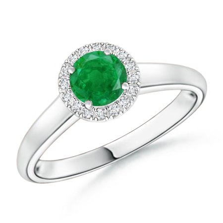 May Birthstone Ring - Classic Round Emerald and Diamond Halo Ring in Platinum (5mm Emerald) - SR0151E-PT-AA-5-12.5