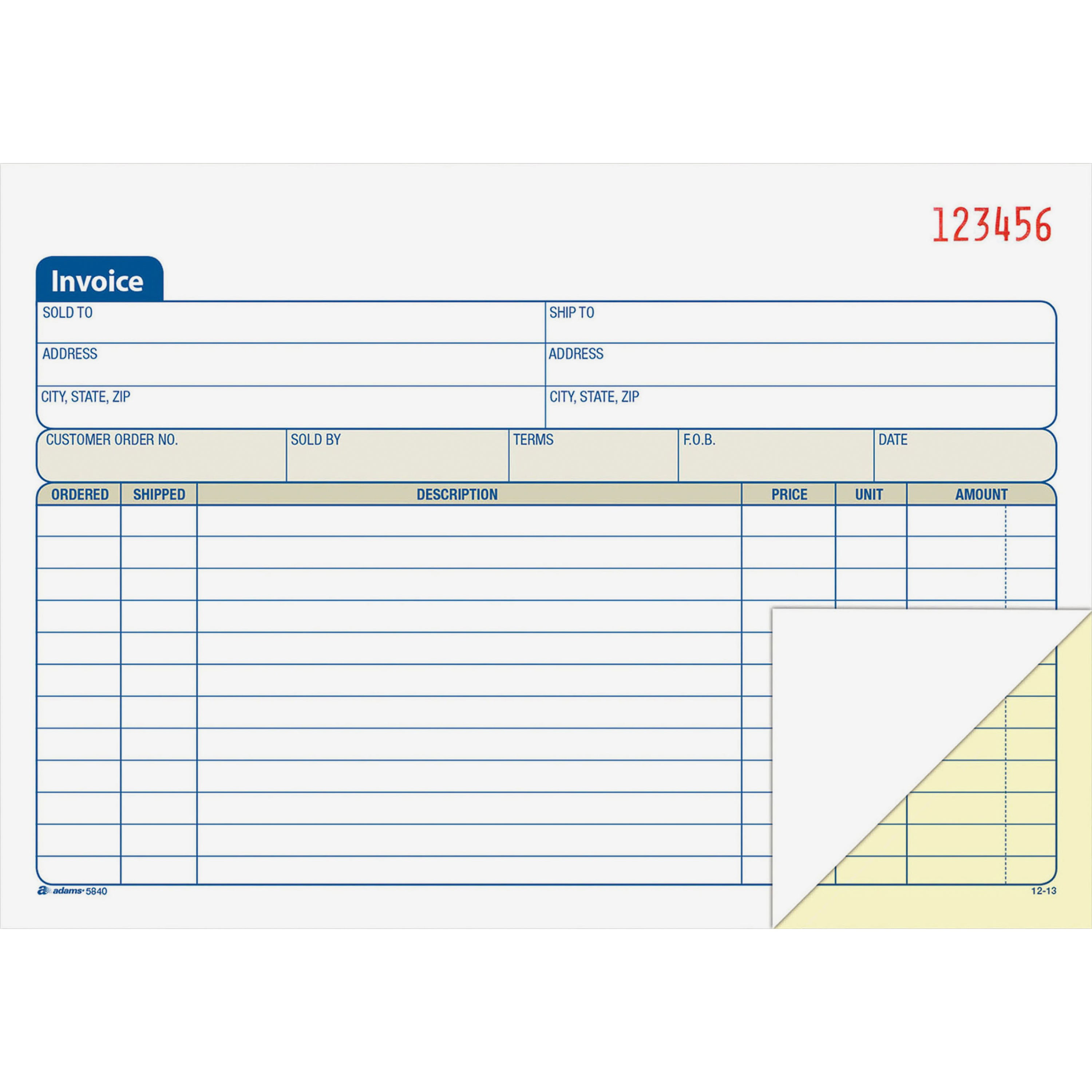 "Adams 2-Part Carbonless Invoice Book, 5-9 16"" x 8-7 16"" by TOPS Products"