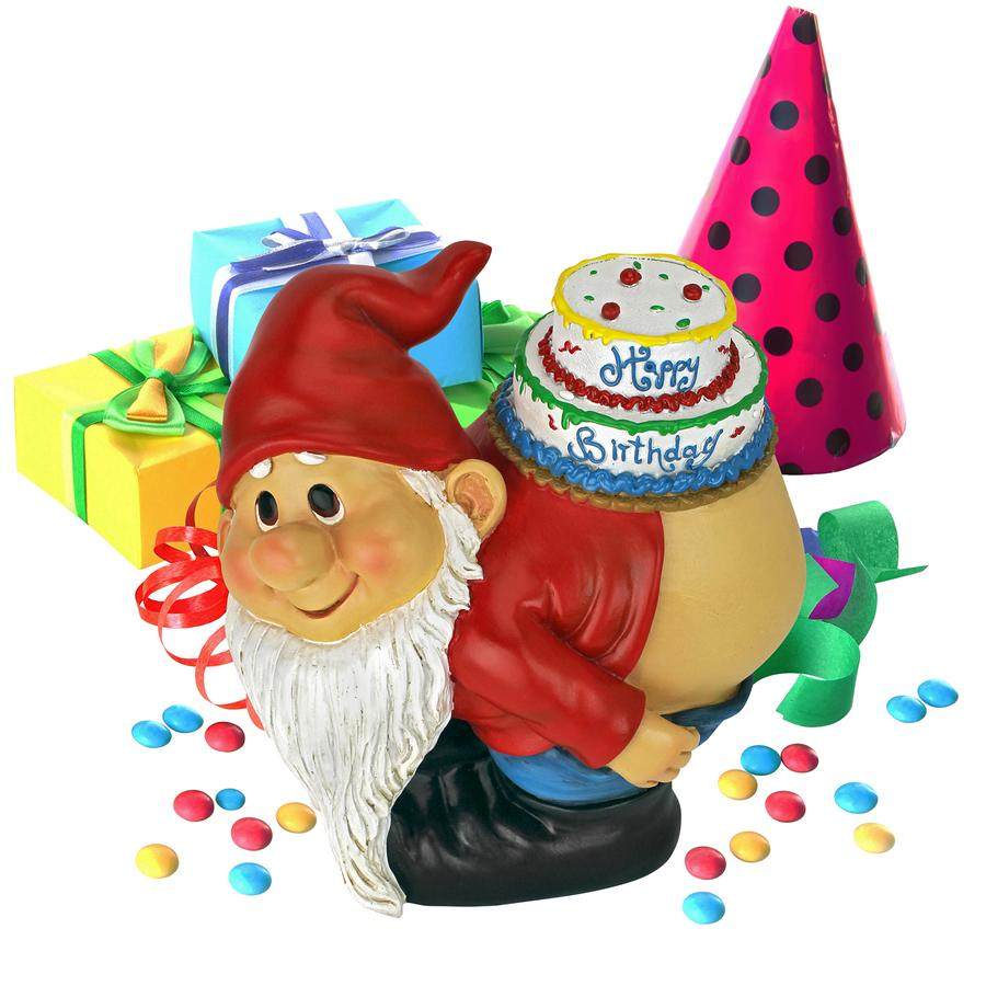 Loonie Moonie Happy Birthday Garden Gnome Statue by Design Toscano