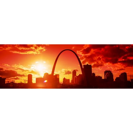 Image of Downtown buildings and Gateway Arch at sunset St Louis Missouri USA Canvas Art - Panoramic Images (36 x 12)