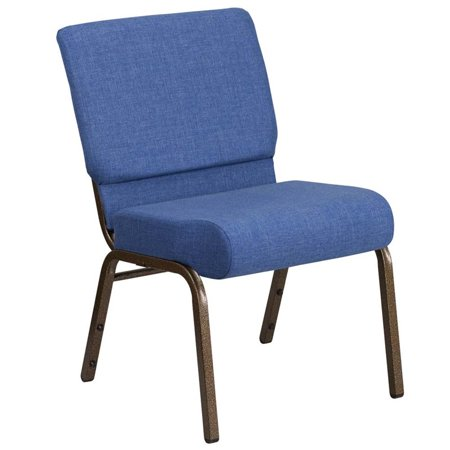 Flash Furniture HERCULES Series 21'' Extra Wide Blue Fabric Stacking Church Chair with 4'' Thick Seat - Gold Vein Frame(base UPC 0088914206603 )
