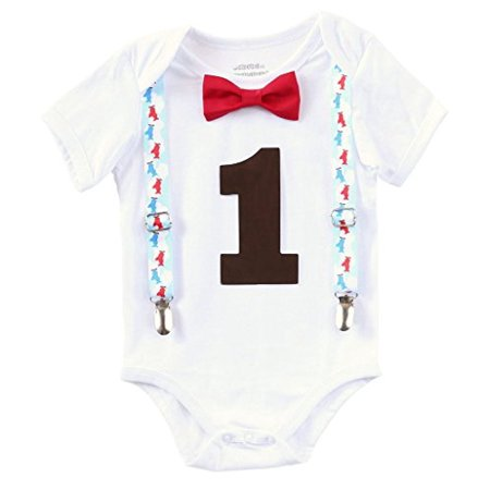 Noah's Boytique Vintage Airplane Theme First Birthday Party Cake Smash Outfit Red Bow Brown Number One 6-12 Months (Themed Outfits Ideas)