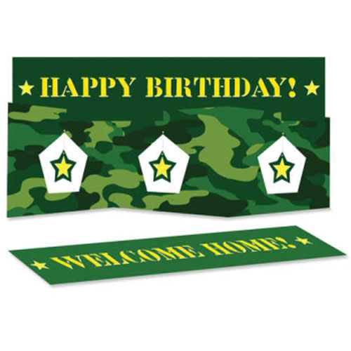 Military Camouflage Happy Birthday Centerpiece (1ct)