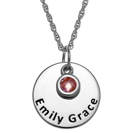 46f922e12ee3d Personalized Girl's Sterling Silver or Gold over Sterling Engraved Name  Disc with Birthstone Charm Necklace