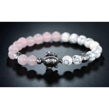 Rhodium Plated Genuine Pink Jade Turtle Stretch Bracelet with Natural Healing Stones