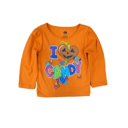 Happy Halloween Infant Toddler Girls I Love Candy T-shirt Pumpkin Tee - Happy Halloween Candy