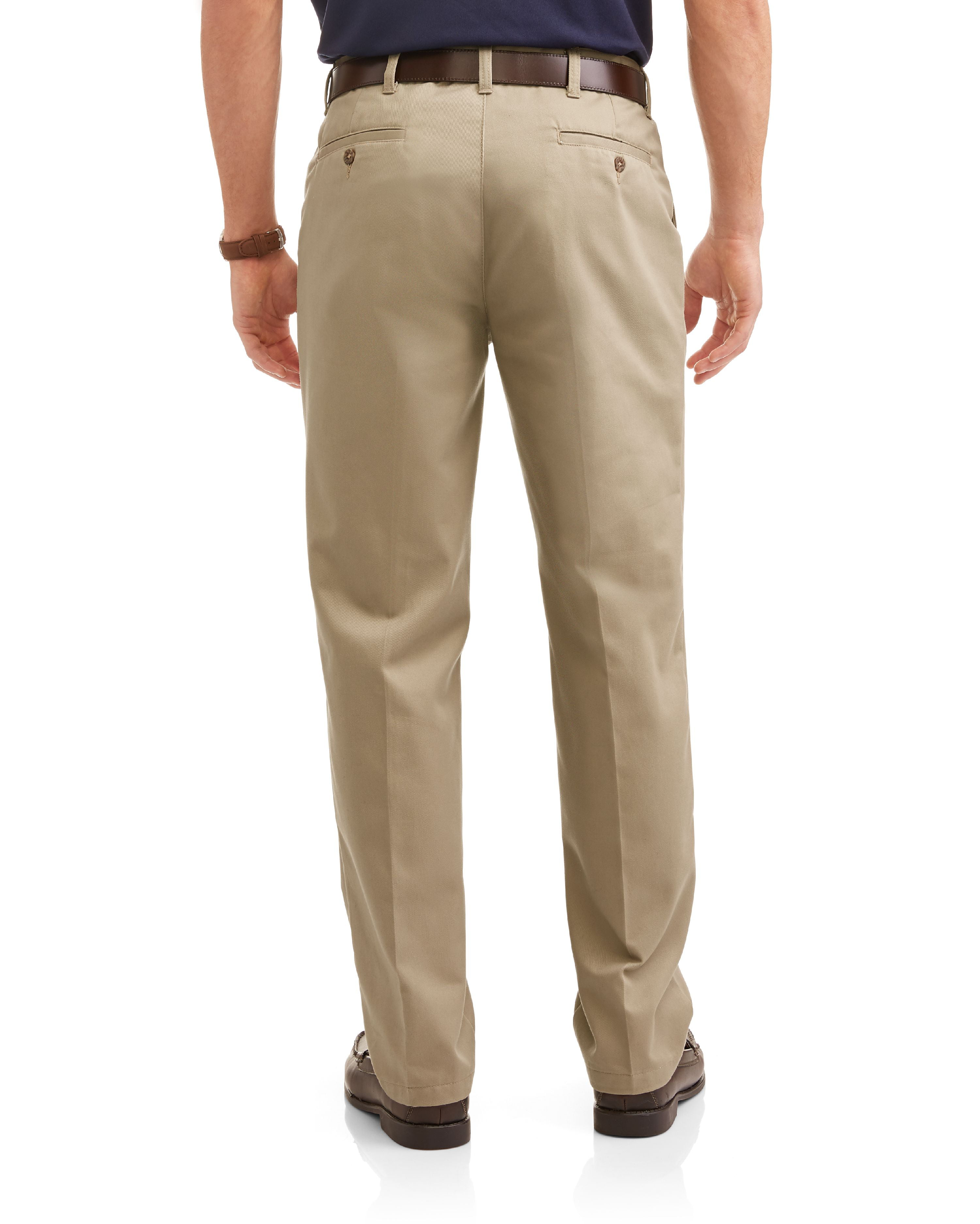 959bb641d79 George - George Men s Wrinkle Resistant Flat Front 100% Cotton Twill Pant  with Scotchgard - Walmart.com