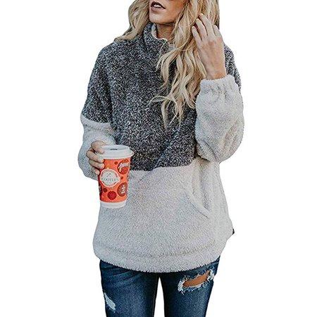 Womens Sweatshirts Fall Fleece Jackets Sherpa Pullover Winter Coats with Zipper - Girls Sherpa Jacket