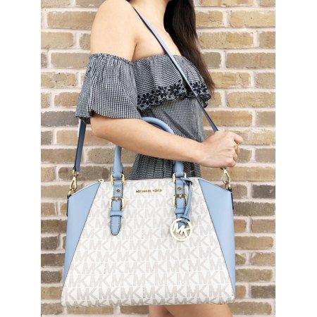 Michael Kors Ciara Saffiano Large Top Zip Satchel Vanilla Mk Pale Blue