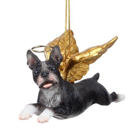Boston Terrier Christmas - Design Toscano Honor the Pooch: Boston Terrier Holiday Dog Angel Ornament