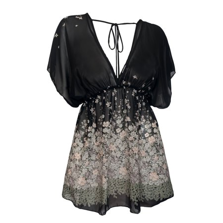 Black Floral Shirt - eVogues Plus Size Sheer Deep Cut V-Neck Floral Print Tunic Top Black 1761