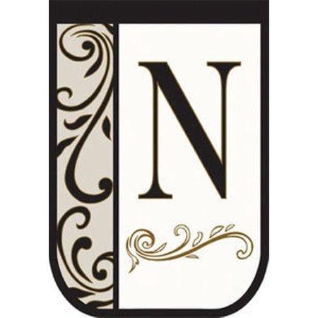 Double Applique Monogram Decorative House Flag Letter N