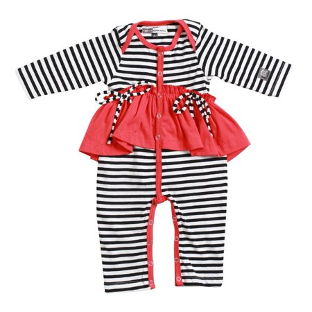 KidCuteTure Baby Girls Poppy Red Ruffle Abby Long Sleeve Funky Fall Romper 3-24M