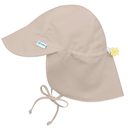 Iplay Flap Sun Hat for Toddler Boys Toddler Girls Unisex Sun Protection Large Billed Baby Hat- Solid Khaki Beige Tan- 2-4 Years (2T-4T) Adjustable Fit Outdoor Hat With Chin Strap and Neck Flap Swim