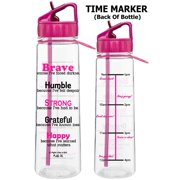 Fight Like a Girl Motivational Brave Because I've Faced Darkness Slimkim II Water Sports Bottle for Fitness Workout Exercise | Time Marker with Inspirational Phrases