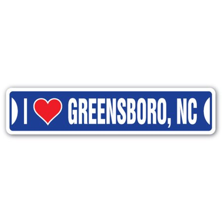 I LOVE GREENSBORO, NORTH CAROLINA Street Sign nc city state us wall road décor gift](Halloween Express Greensboro Nc)