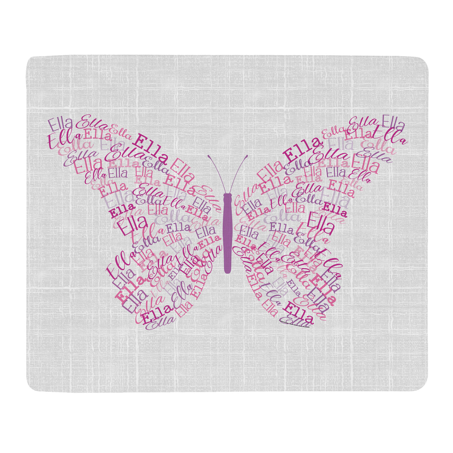 Personalized Name Art Plush Blanket - Butterfly