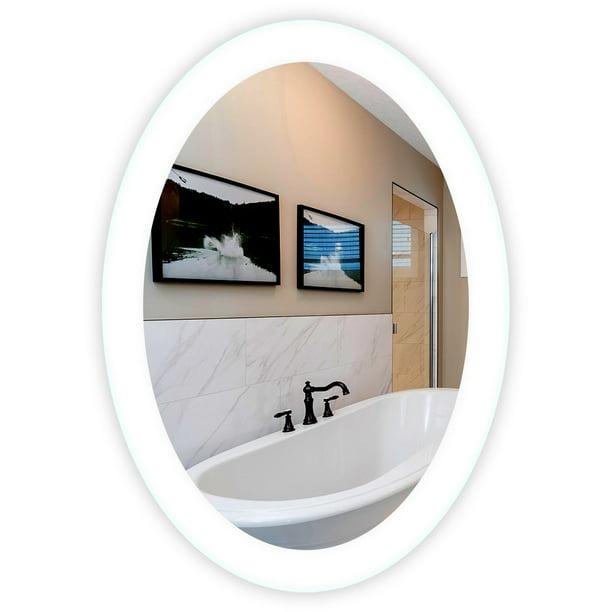 Side Lighted Led Bathroom Vanity Mirror 20 Wide X 28 Tall Oval Wall Mounted Walmart Com Walmart Com