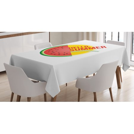 Hello Summer Tablecloth, Abstract Energetic Summer Items Design Watermelon Slice Straw and The Sun, Rectangular Table Cover for Dining Room Kitchen, 60 X 90 Inches, Multicolor, by Ambesonne](Straw Table)