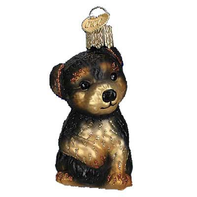 Yorkie Puppy Old World Christmas Ornament